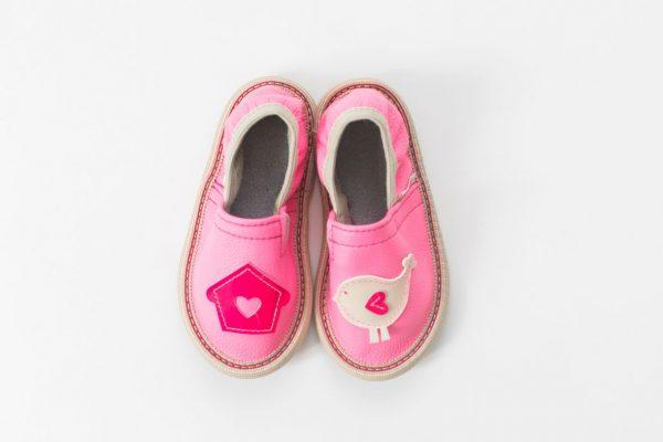 Rolly copati za vrtec roza deklice toddler girl ptiček hišica