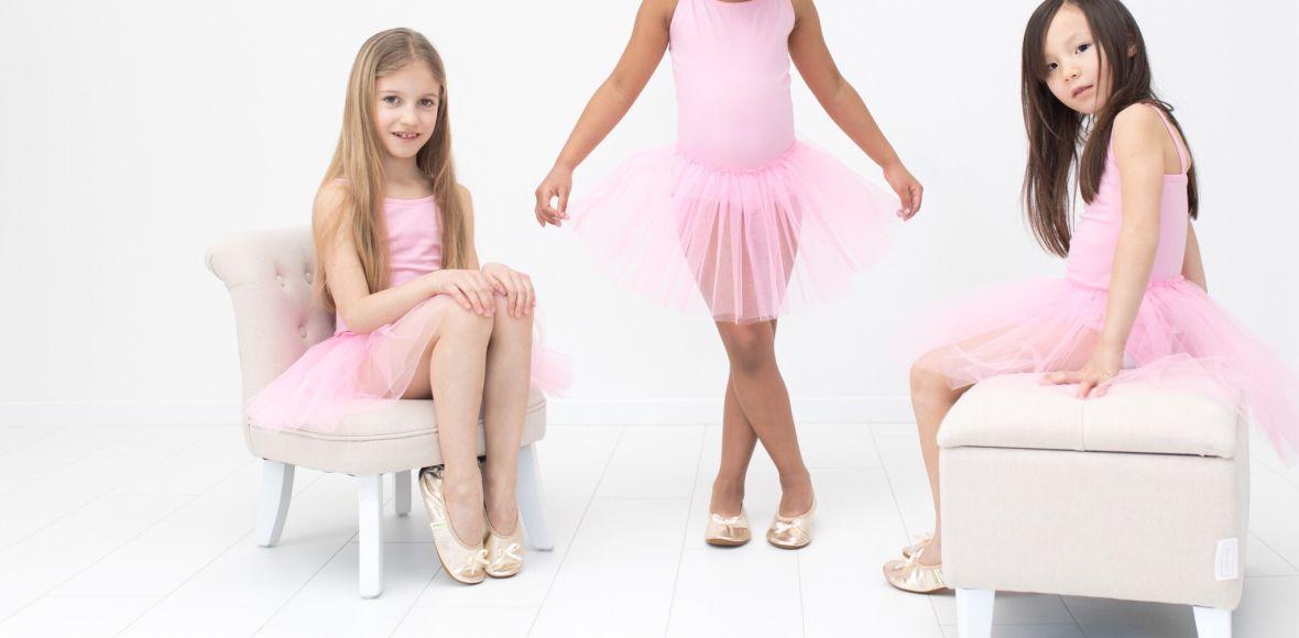Šolski copati ballerina rolly gold deklice